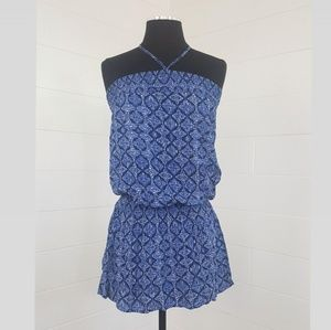 F21 Halter Strapless Blue Print Vacation Dress